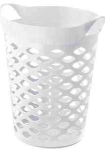 Cesto Organizador Redondo Em Plástico 44 Litros Branco