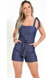 Macaquinho Jeans Com Alças E Amarração Sawary