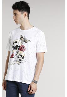 Camiseta Masculina Estampada Com Caveira E Rosas Manga Curta Gola Careca Branca