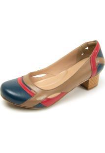 Sapato Retrô Salto Quadrado Dhl Feminino Marrom, Marinho E Vermelho - Kanui