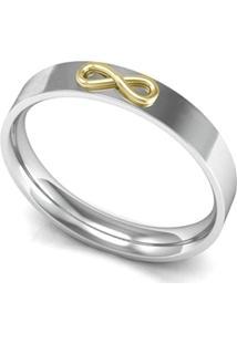 Aliança De Prata C/ Infinito Em Ouro-33 - Feminino