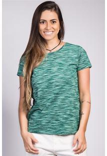 Blusa Feminina Em Malha De Algodão Com Mix De Fios Folha