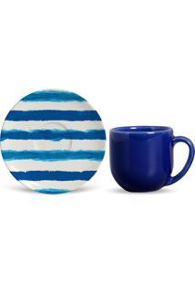Xícara De Café Com Pires Brahma Azul E Branca 6,4X12X12 Cm
