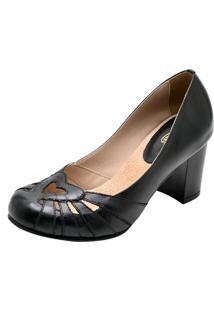 Sandália Salto Grosso 7Cm Sapatofran Retro Vintage Preto