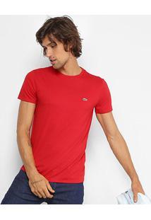 Camiseta Lacoste Básica Jersey Masculina - Masculino-Vermelho Claro