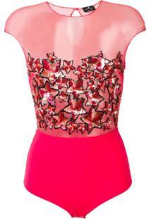 Elisabetta Franchi Sequin Embellished Sheer Bodysuit - Rosa