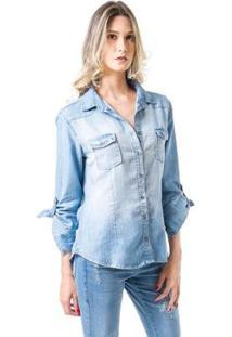 Camisa Bloom Jeans Ajustada Claro Feminina - Feminino-Azul Claro