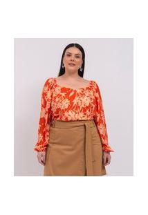 Blusa Floral Com Manga Bufante E Decote Princesa Curve & Plus Size | Ashua Curve E Plus Size | Laranja | G