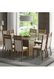 Conjunto Sala De Jantar Madesa Louise Mesa Tampo De Vidro Com 8 Cadeiras Marrom