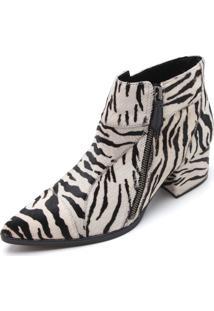 Bota Couro Luiza Barcelos Zebra Branca