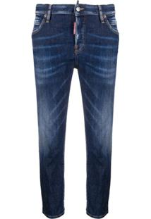 Dsquared2 Cropped Slim-Fit Jeans - Azul