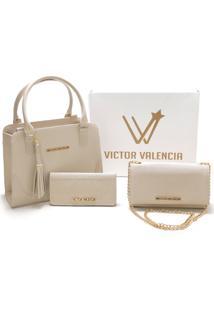 Kit Versalhes Duas Bolsas Mais Carteira Victor Valencia - Marfim - Kanui