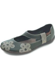 Sapato Hms Couro Verde - Verde - Feminino - Couro - Dafiti