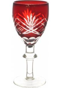 Conjunto Taças De Cristal Lapidado Vermelho 60Ml 6 Peças - Tricae