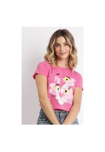 Blusa Feminina Pantera Cor De Rosa Estampada Manga Curta Pink