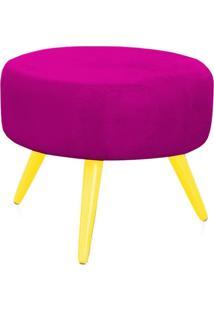 Puff Angel Redondo Suede Pink Pés Palito Amarelo - Lyam Decor