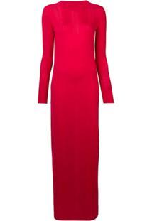 Barrie Vestido Longo De Tricô Com Fenda - Vermelho