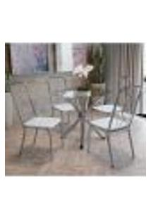 Conjunto Mesa Redonda De Vidro E 4 Cadeiras Kappesberg Cromado/Branco