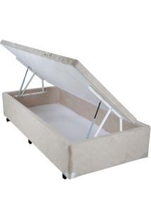 Cama Box Baú Suede Bege Com Pistão - 078 X 188