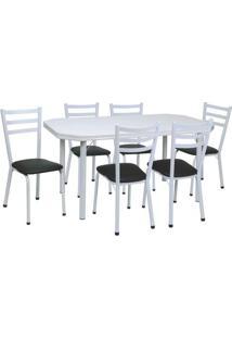 Conjunto De Mesa Com 6 Cadeiras Beatriz Corino Preto E Branco - Única