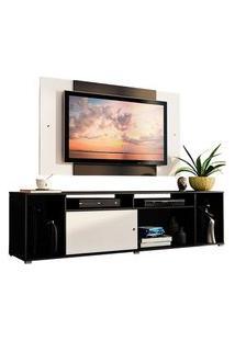 Rack Madesa Cancun E Painel Para Tv Até 58 Polegadas Preto/Branco 7773 Preto