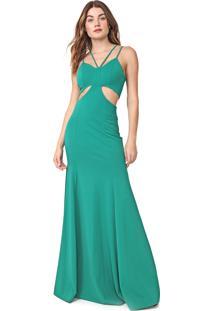 Vestido Lanã§A Perfume Longo Cut Out Verde - Verde - Feminino - Poliamida - Dafiti