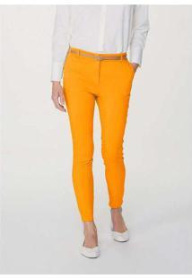 Calça Básica Feminina Alfaiataria Amarelo