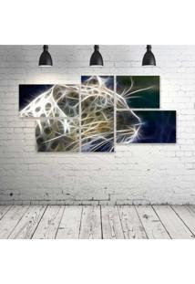 Quadro Decorativo - Leopard-Neon-Face-(4) - Composto De 5 Quadros