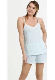Conjunto De Pijama Marisa Estampa Animal Print Alças Finas Feminino - Feminino-Azul Claro