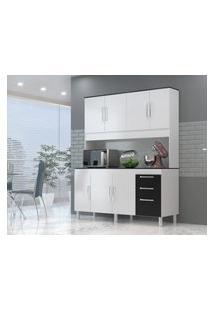 Cozinha Compacta Gemeos 1,44M 7 Portas 3 Gav. Branco Preto