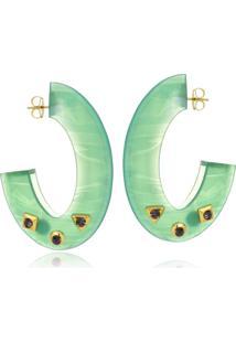 Argola Le Diamond Acrilico Com Tachas Verde
