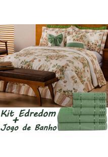 Kit Combo Esther Edredom E Jogo De Banho Floral Verde/Palha Queen 12 Peças Dourados Enxovais..