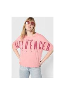 Camiseta Colcci Freelance Influencer Rosa