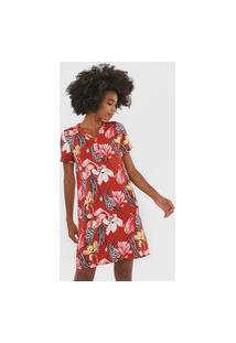 Vestido Rovitex Curto Floral Vermelho/Amarelo