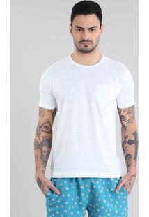 Camiseta Básica Com Bolso Branca