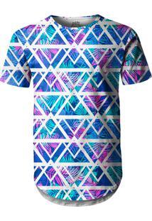 Camiseta Longline Over Fame Tecno Geométrico Multicolorido