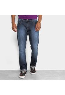 Calça Jeans Slim Triton Estonada Masculina - Masculino-Azul