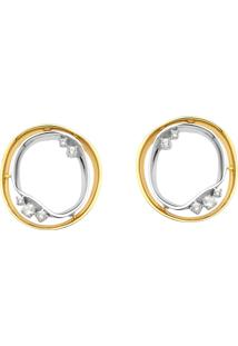 Brinco De Ouro Branco E Amarelo 18K Circulo Duplo Com Topázio Branco