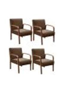 Kit 4 Cadeiras Anita Poltrona Decorativa Braço Madeira Para Escritório, Recepção, Sala De Estar Vários Ambientes - Veludo Marrom