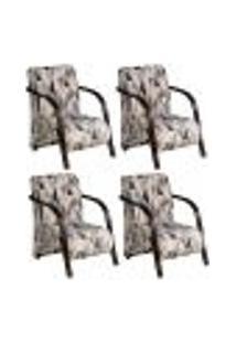 Conjunto De 4 Poltronas Sevilha Decorativa Braço De Madeira Cadeira Para Recepção, Sala Estar Tv Espera, Escritório, Vários Ambientes - Poliéster Estampado 290