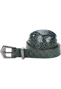 Cinto Couro Santa Lolla Cobra Feminino - Feminino-Verde