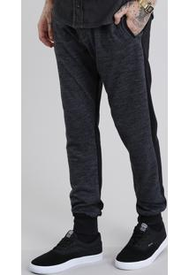 Calça Masculina Jogger Em Moletom Com Recorte Cinza Mescla Escuro