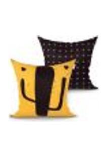 Capa Almofada Decorativa Amarela E Preta Estampada Cacto Kit Com 2 Unidades 45Cm X 45Cm Com Zíper