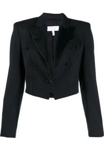 Escada Sport Cropped Button Detail Blazer - Preto