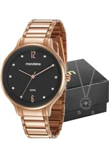 Kit Relógio Mondaine Feminino Com Colar E Brincos 53626Lpmvre2K1