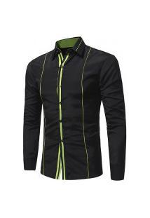 Camisa Masculina Slim Listras Únicas - Preta E Verde