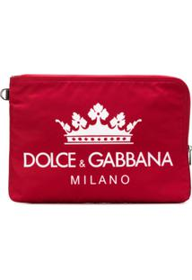 Dolce & Gabbana Clutch Com Estampa De Logo - Vermelho