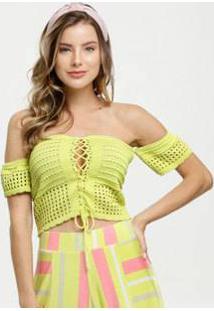 Blusa Feminina Ombro A Ombro Crochê Neon Marisa