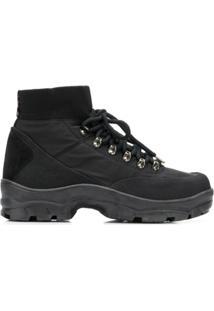 Moncler Ankle Boot De Couro - Preto
