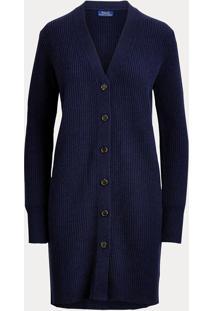 Maxi Cardigan Polo Ralph Lauren Color Azul - Azul - Feminino - Dafiti